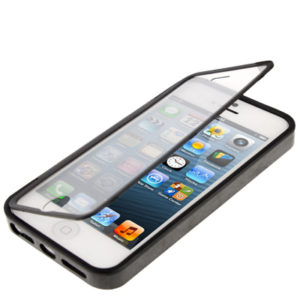 Transparent Flip TPU Case for iPhone 5 5S Black