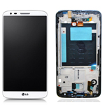 LG D802 Optimus G2 Complete lcd with front cover touchpad and frame in white - LG Part No- ACQ86917702