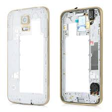 Samsung Galaxy S5 G900F Rear Chassis with Loudspeaker,Earphone Flex,Camera Lens and Side Button in Gold