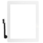 iPad 4 Digitizer touchscreen with parts in white (home button and flex with adhesive & camera holder) by AG factory