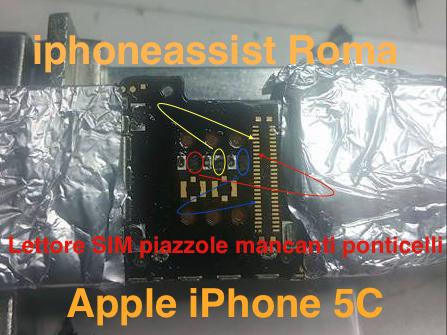 Apple iPhone 5C Lettore SIM ponticelli piazzole mancanti